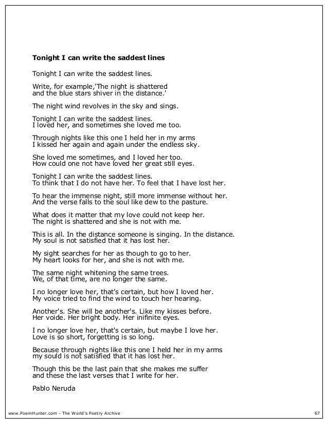 pablo neruda saddest poem