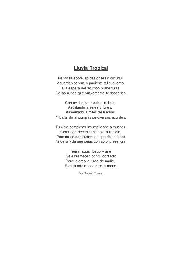 Lluvia Tropical Nerviosa sobre lápidas grises y oscuras Aguardas serena y paciente tal cual eres a la espera del retumbo y...