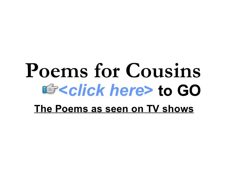 Poems for Cousins