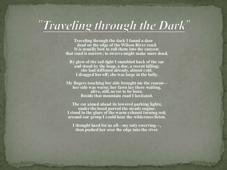 Traveling through the dark and woodchucks essay writing