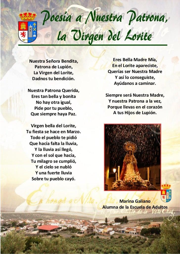 Nuestra Señora Bendita,          Eres Bella Madre Mía,   Patrona de Lupión,            En el Lorite apareciste,   La Virge...