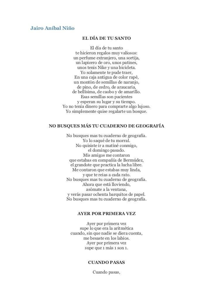 "HYPERLINK ""http://frases-poemas.blogspot.com/2007/02/jairo-anbal-nio.html"" Jairo Aníbal Niño <br />EL DÍA DE TU SANTOEl d..."