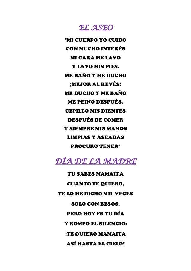 """EL ASEO  """"MI CUERPO YO CUIDO  CON MUCHO INTERÉS   MI CARA ME LAVO    Y LAVO MIS PIES.  ME BAÑO Y ME DUCHO   ¡MEJOR AL REVÉ..."""