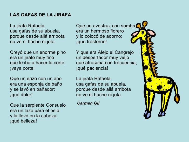 Resultado de imagen de poemas de carmen gil la jirafa rafaela