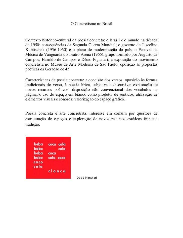 O Concretismo no Brasil<br />Contexto histórico-cultural da poesia concreta: o Brasil e o mundo na década de 1950: consequ...