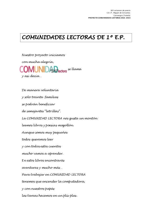 18º certamen de poesía C.E.I.P.. Miguel de Cervantes Consuegra ( Toledo) PROYECTO COMUNIDADES LECTORAS 2013- 2014 COMUNIDA...