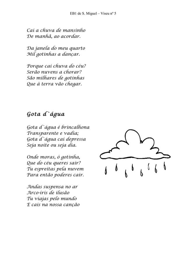 EB1 de S. Miguel – Viseu nº 5Cai a chuva de mansinhoDe manhã, ao acordar.Da janela do meu quartoMil gotinhas a dançar.Porq...