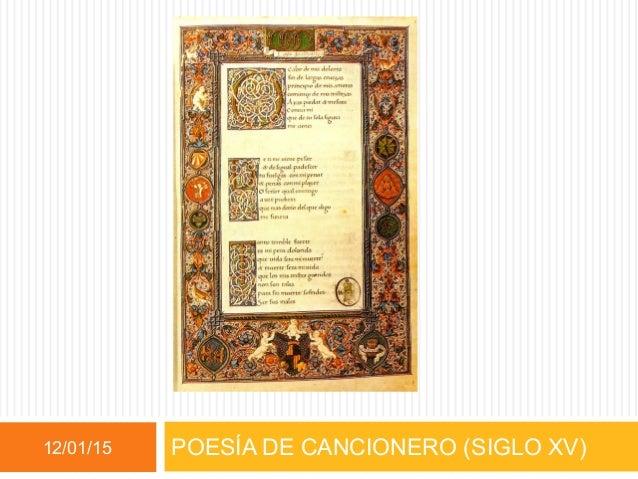 POESÍA DE CANCIONERO (SIGLO XV)12/01/15