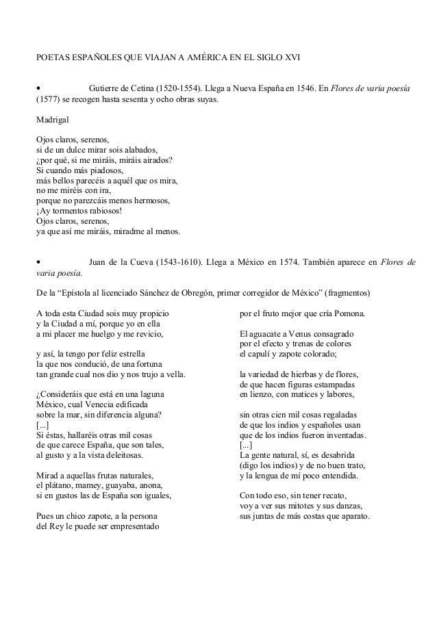 POETAS ESPAÑOLES QUE VIAJAN A AMÉRICA EN EL SIGLO XVI • Gutierre de Cetina (1520-1554). Llega a Nueva España en 1546. En F...