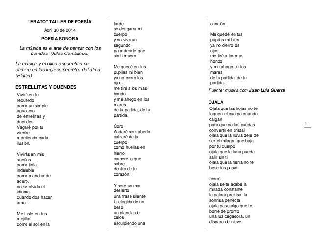 """1 """"ERATO"""" TALLER DE POESÍA Abril 30 de 2014 POESÍA SONORA La música es el arte de pensar con los sonidos. (Jules Combarieu..."""