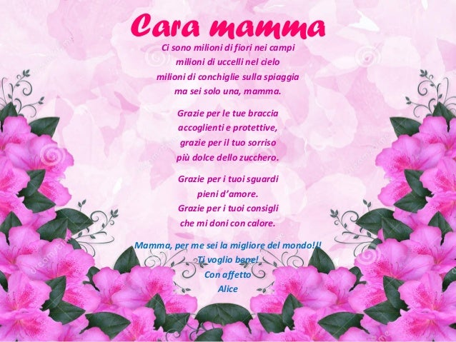 poesie vb On cara mamma oggi e il tuo compleanno
