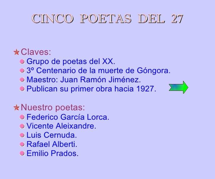 CINCO  POETAS  DEL  27 <ul><li>Claves: </li></ul><ul><ul><li>Grupo de poetas del XX. </li></ul></ul><ul><ul><li>3º Centena...