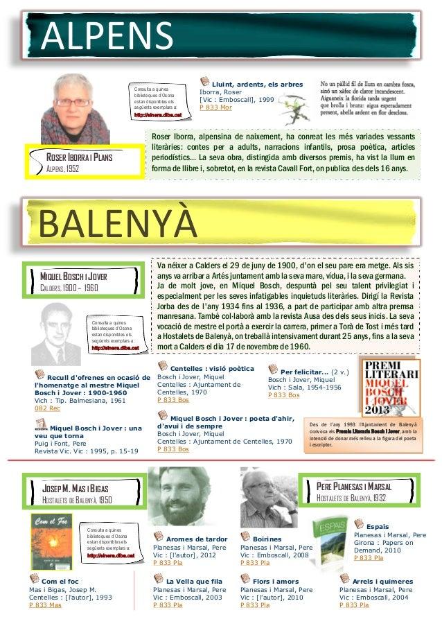 ALPENS ROSER IBORRA I PLANS ALPENS, 1952 Roser Iborra, alpensina de naixement, ha conreat les més variades vessants literà...
