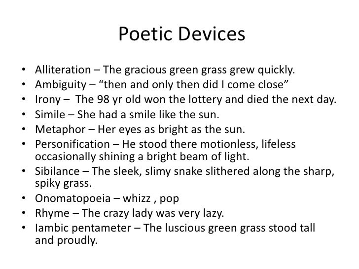 What are some examples of poems that contain a lot of poetic.