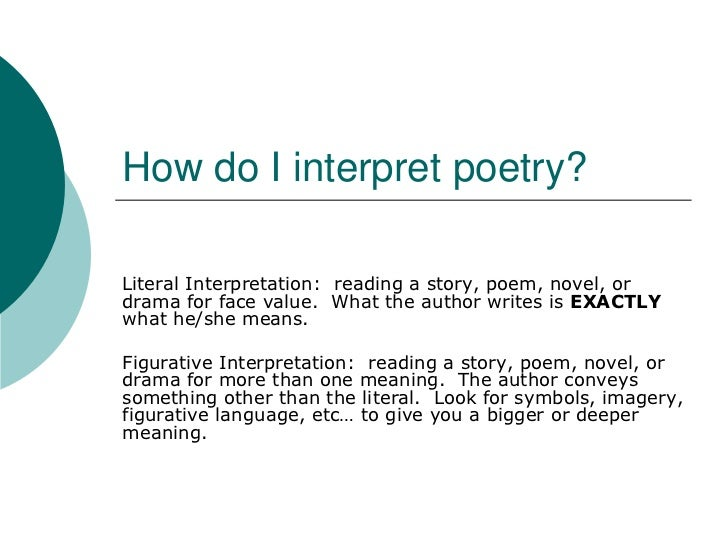 How do I interpret poetry?Literal Interpretation: reading a story, poem, novel, ordrama for face value. What the author wr...