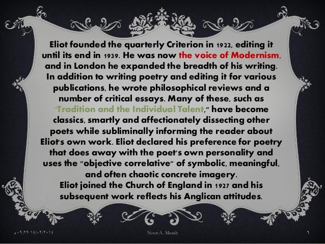 an essay on modernism ezra pound and ts eliot According to many critics, it is ezra pound's editing of the manuscript of ts eliot's the waste land that contributed to the poem's becoming a masterpiece of modern poetry moreover, this collaboration constituted the climax of their astonishing series of close interactions.