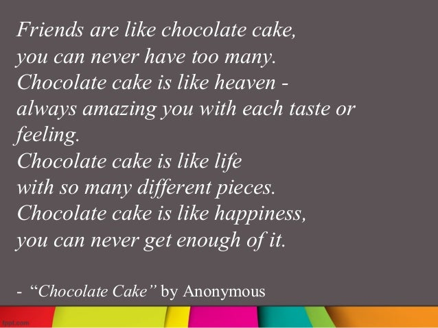 Words That Rhyme With Chocolate Cake