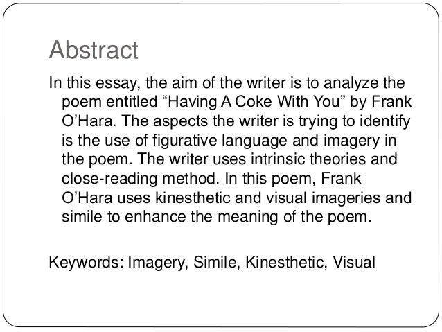 Figurative Language And Imagery In Having A Coke With You By Frank