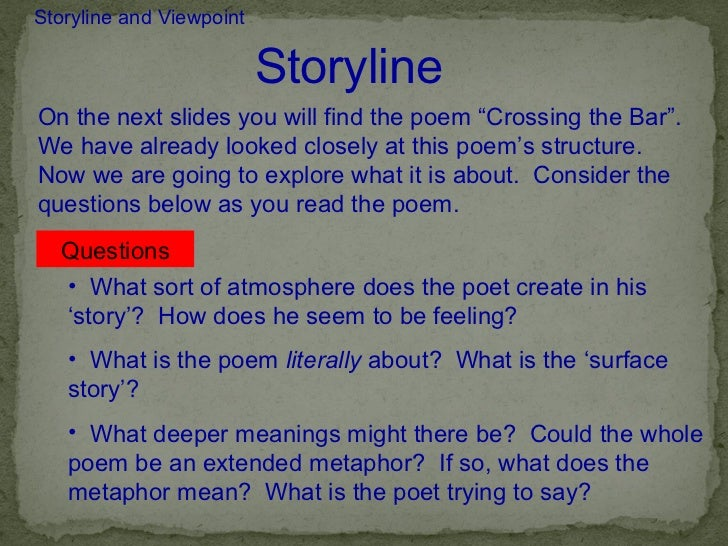 "analysis of the poem crossing the A summary of ""crossing the bar"" in alfred lord tennyson  analysis and themes themes  the other important image in the poem is one of ""crossing."