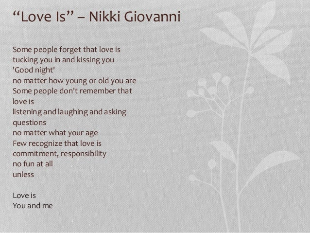 analysis of the poem women by nikki giovanni Nikki giovanni and linda hogan both wrote poems in the 1970s about their these two poems, legacies and heritage linda hogan is a woman of mixed.