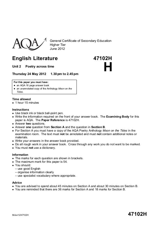 General Certificate of Secondary Education                                Higher Tier                                June ...