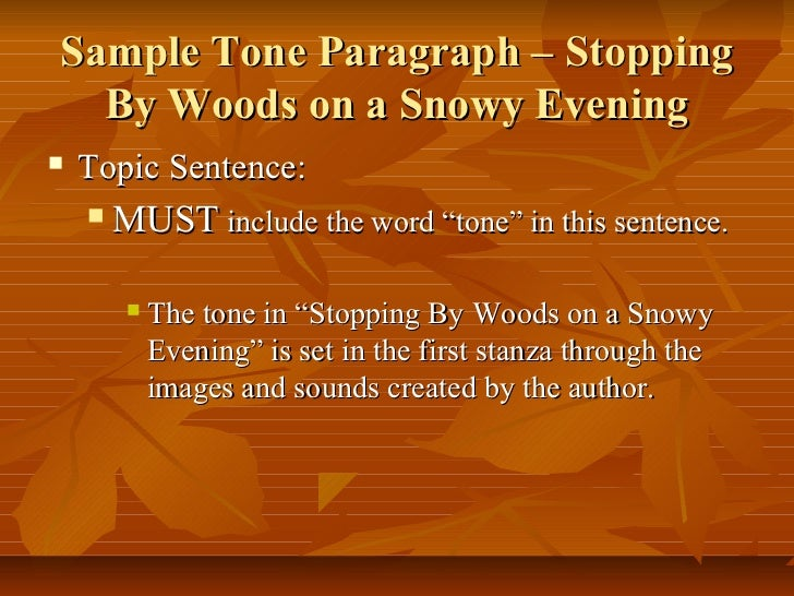 poetry analysis 9 sample tone paragraph stopping by woods on a snowy evening
