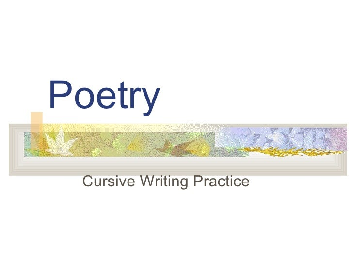 Poetry Cursive Writing Practice