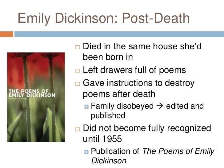 emily dickinson poems death essays Contrast and comparison in emily dickinsons poetry english literature essay throughout much of her poetry, emily dickinson wrote that accepting death and.