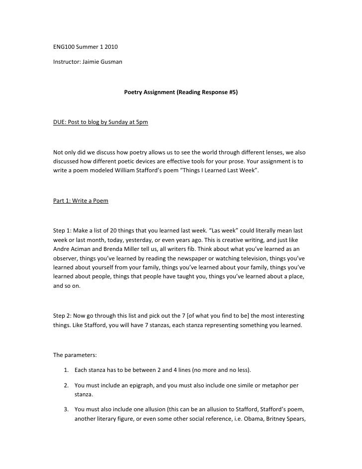 poetry reading response assignment Poetry analysis sheet for this project you will read and analyze a poem written by a latino poet the following instructions will.
