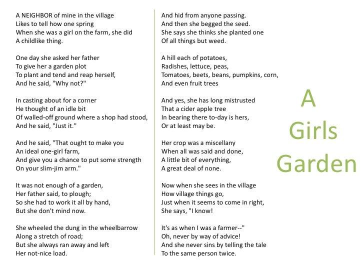 a girls garden robert frost