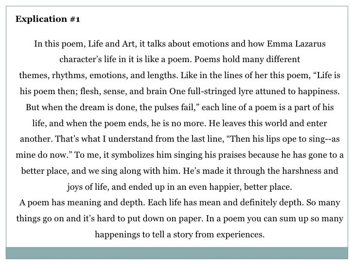 "explication essay of a poem Better essays: poem explication: ""this lime-tree bower my prison"" - throughout life, we have all."