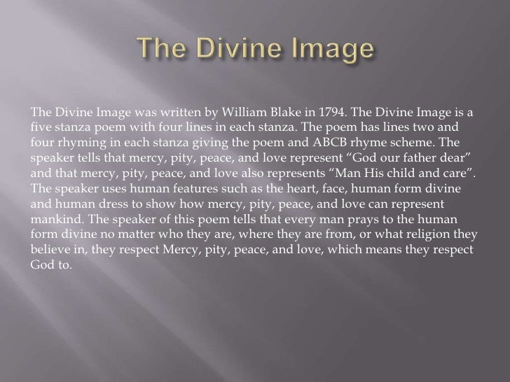 the divine image william blake analysis
