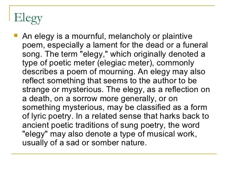 elegaic poem structure
