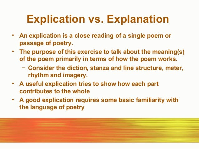 poetry explication explication vs