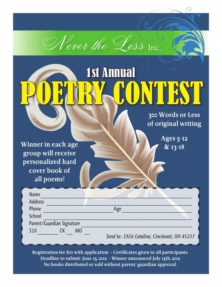 Never the Less Inc.                              1st AnnualPOETRY CONTEST                                               30...