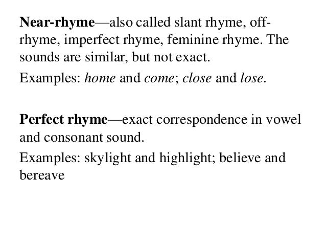 Exact rhyme: definition & examples video & lesson transcript.