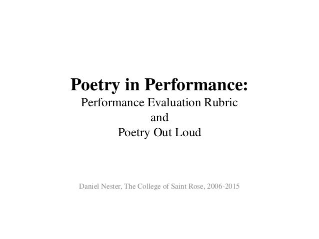 Poetry in performance the performance evaluation rubric