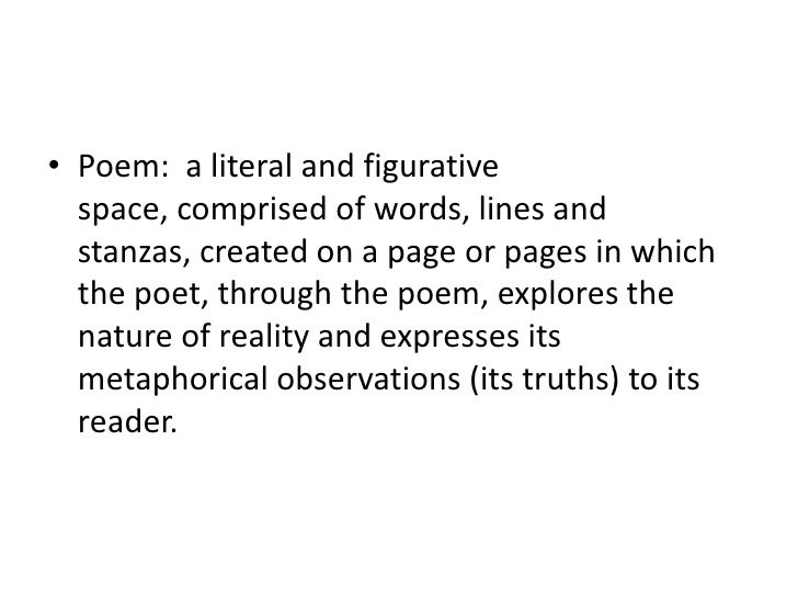 • Poem: a literal and figurative  space, comprised of words, lines and  stanzas, created on a page or pages in which  the ...