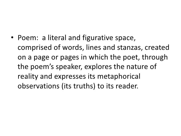 • Poem: a literal and figurative space,  comprised of words, lines and stanzas, created  on a page or pages in which the p...