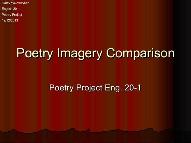 Daley Yakoweshen English 20-1 Poetry Project 19/12/2013  Poetry Imagery Comparison Poetry Project Eng. 20-1