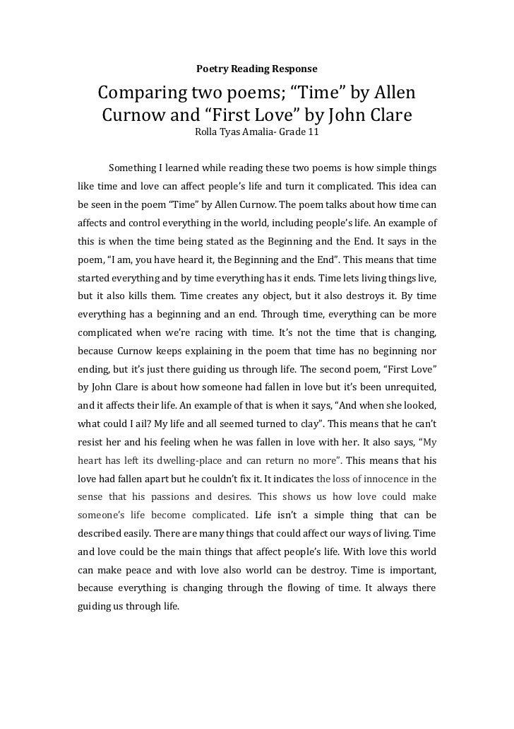 """Poetry Reading Response    Comparing two poems; """"Time"""" by Allen    Curnow and """"First Love"""" by John Clare                  ..."""