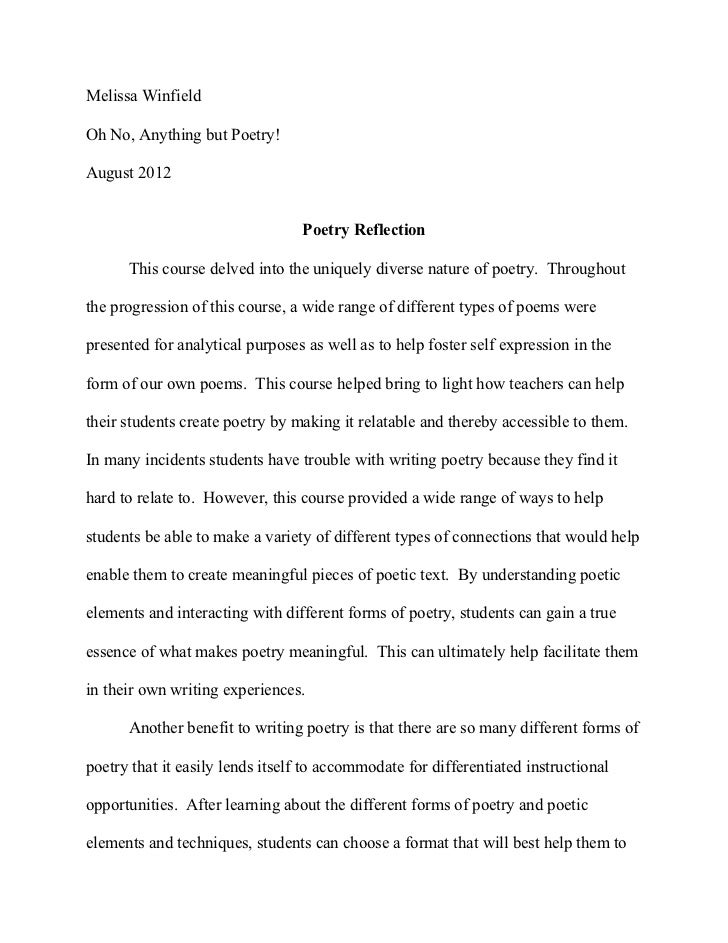 Charmant Poetry Reflection Paper. Melissa WinfieldOh No, Anything But Poetry!