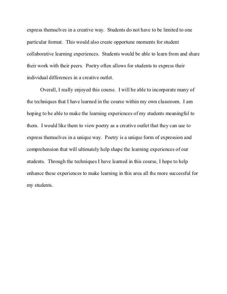 poetry reflection paper - Poem Essay Examples