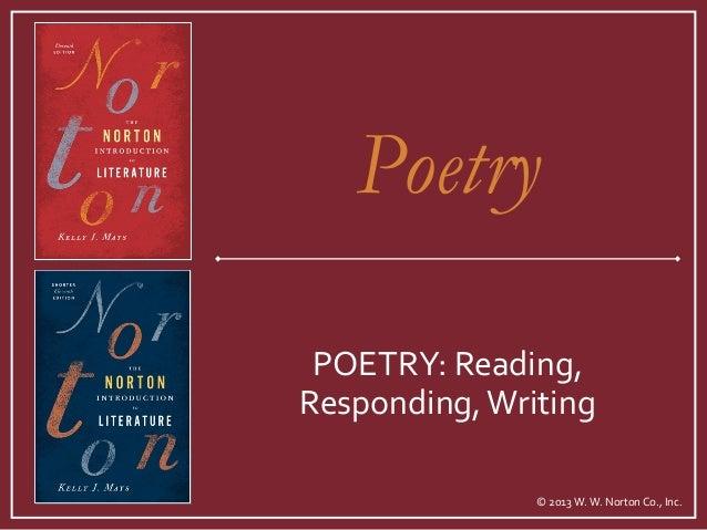 © 2013 W. W. Norton Co., Inc. POETRY: Reading, Responding,Writing Poetry