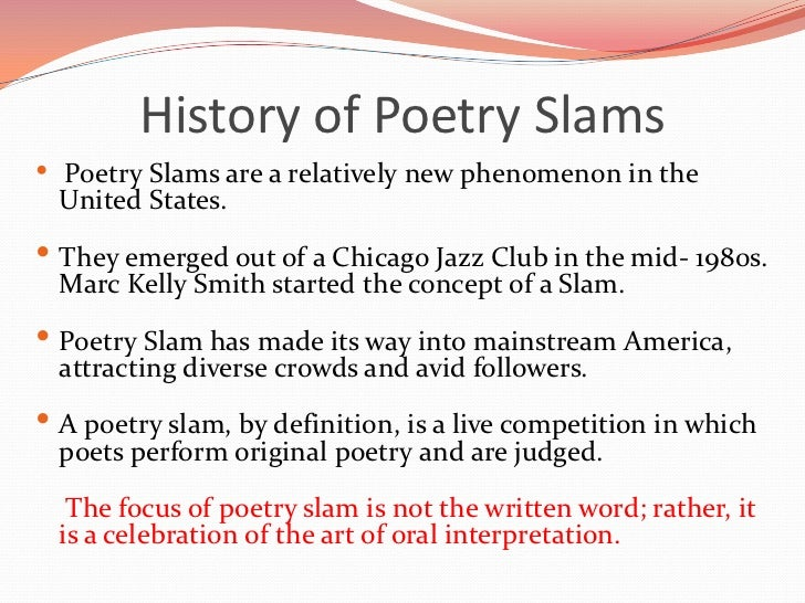 Here's one way you can write a Slam Poem