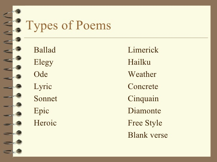 different types of poems Different types of poems explained, with poetry ideas and creative writing prompts to try them yourself plus, download a free poetry tool to help you write sestinas.