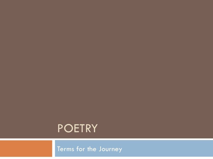POETRY Terms for the Journey