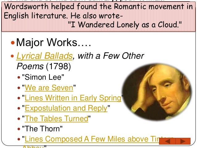 An analysis of daffodils and lines written in early spring two works by william wordsworth
