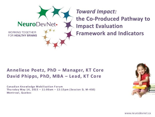 www.neurodevnet.ca WORKING TOGETHER FOR HEALTHY BRAINS Anneliese Poetz, PhD – Manager, KT Core David Phipps, PhD, MBA – Le...