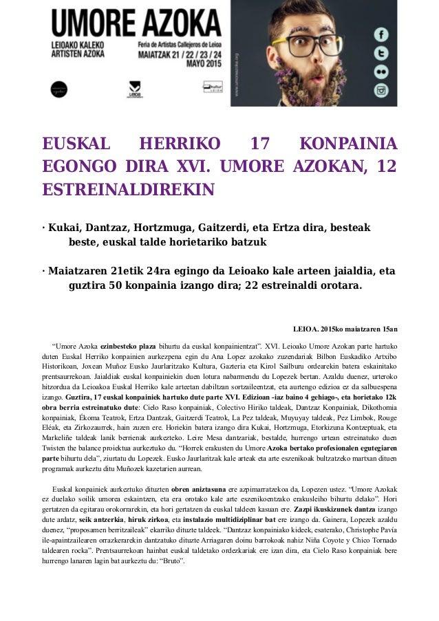 EUSKAL HERRIKO 17 KONPAINIA EGONGO DIRA XVI. UMORE AZOKAN, 12 ESTREINALDIREKIN · Kukai, Dantzaz, Hortzmuga, Gaitzerdi, eta...